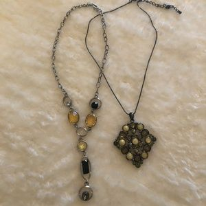 Vintage green and yellow necklaces